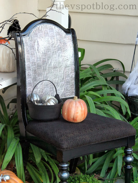 Halloween porch decor, pumpkins, creepy chair