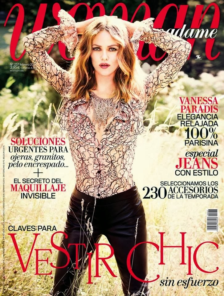 Magazine cover : Vanessa Paradis Magazine Photoshoot Pics on Woman Magazine Spain February 2014 Issue
