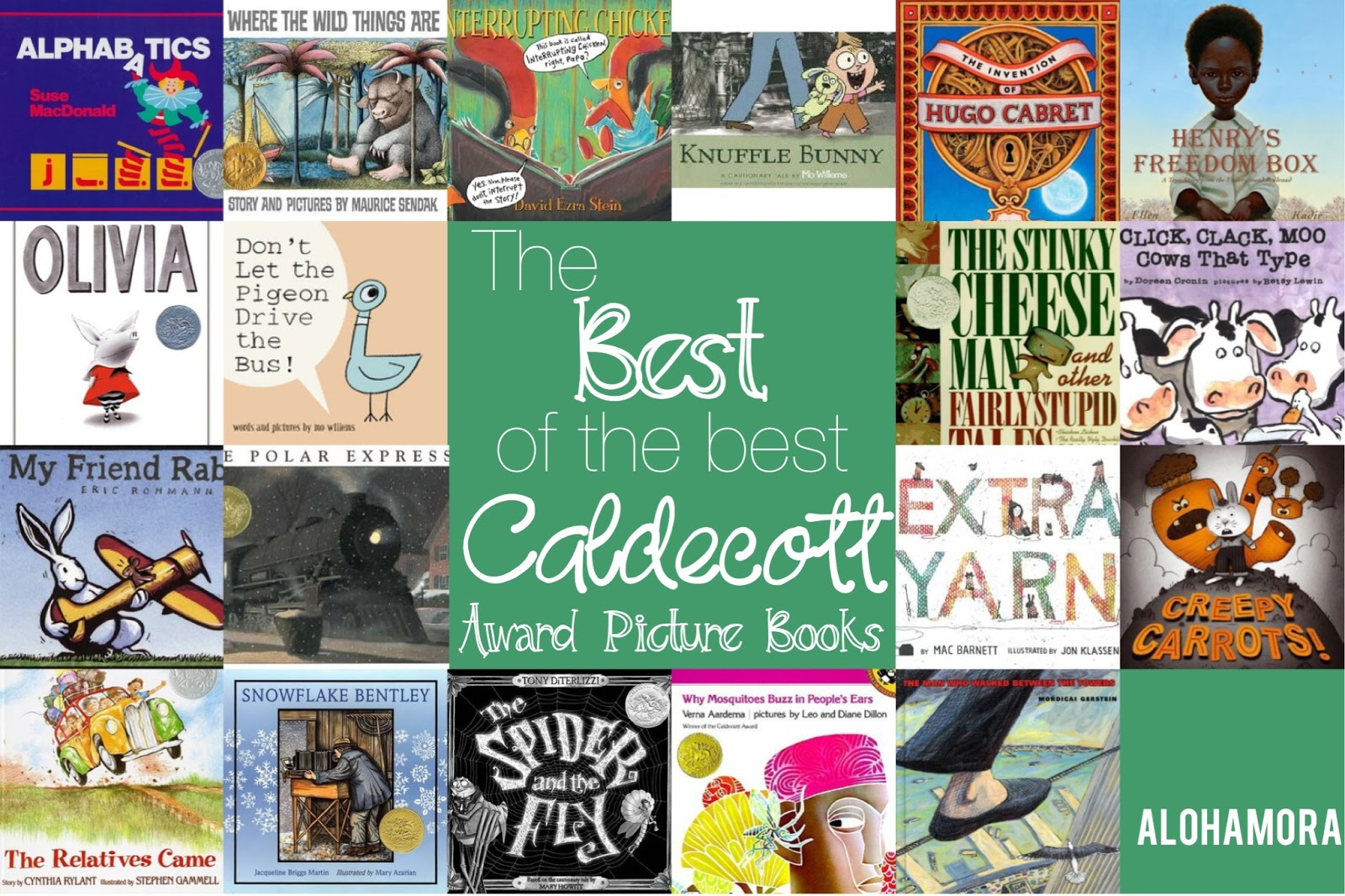 The Best of the Best Caldecott Award Picture Books.  These books all have amazing pictures/illustrations, but the story is absolutely fabulous as well.  These books may great lessons, and every library (home, school, or public) should have them, if they don't already.  Alohamora Open a Book http://www.alohamoraopenabook.blogspot.com/