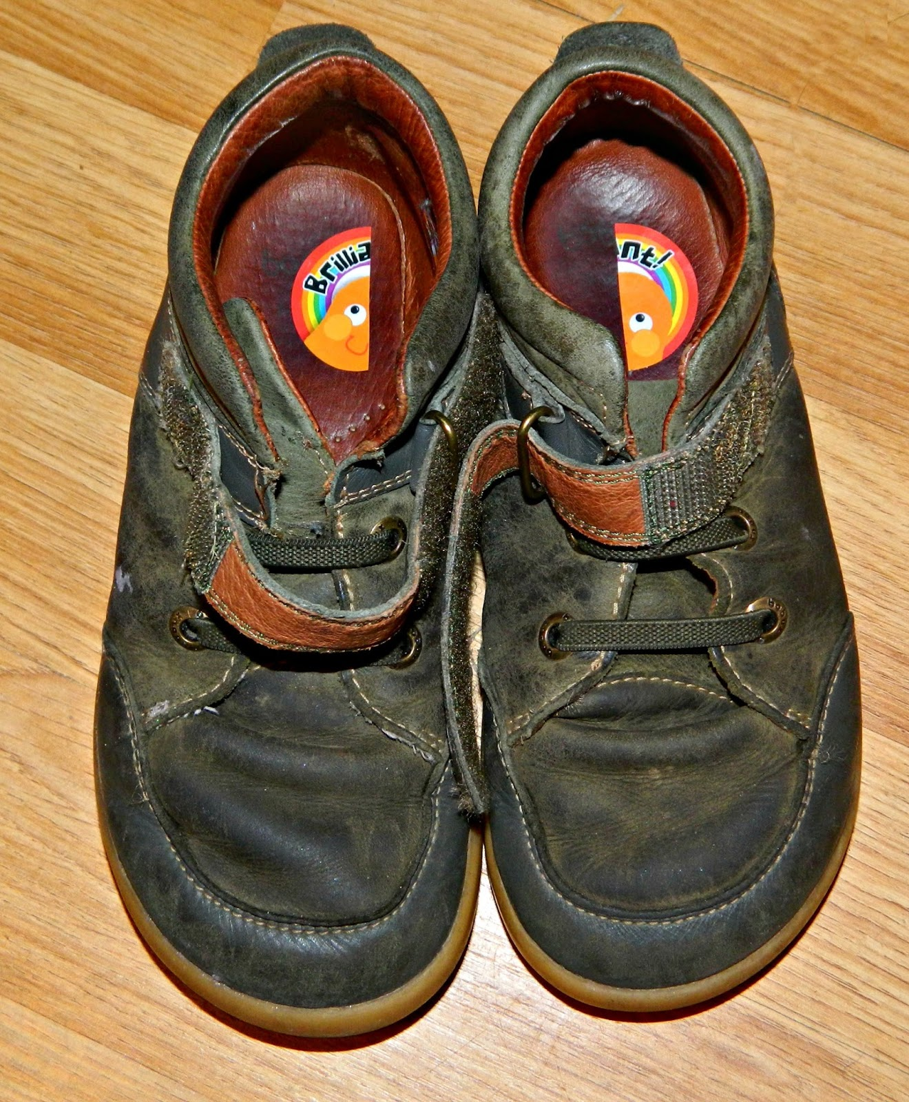 Half a sticker in each shoe to help learn left from right
