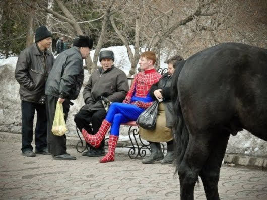spiderman with russian guys