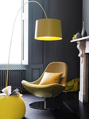 decoración con gris y amarillo