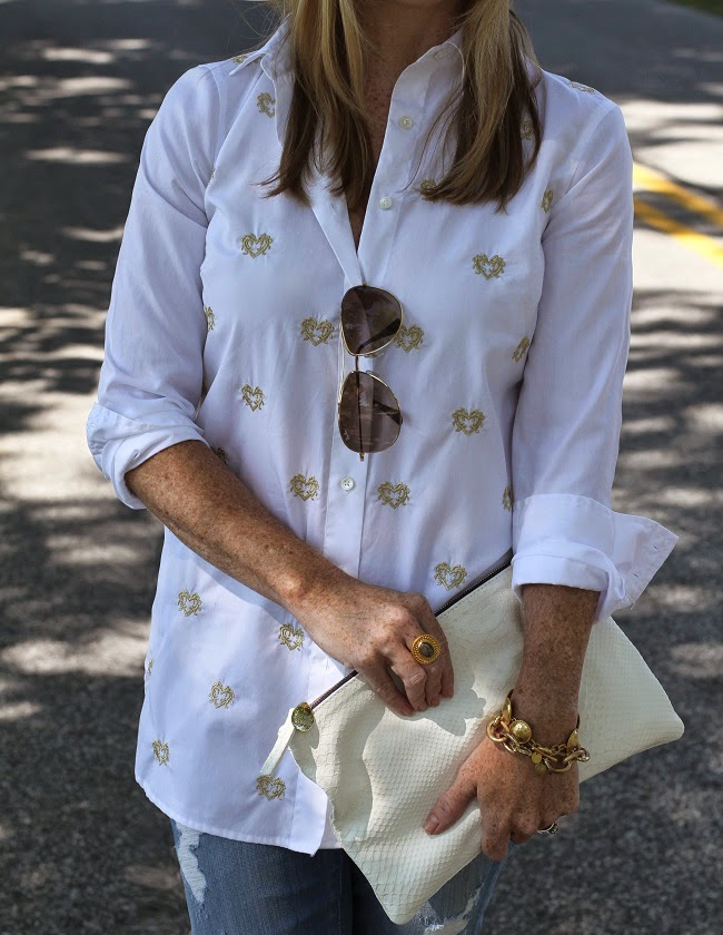 jcrew bullion hearts shirt, julie vos jewelry, clare v clutch