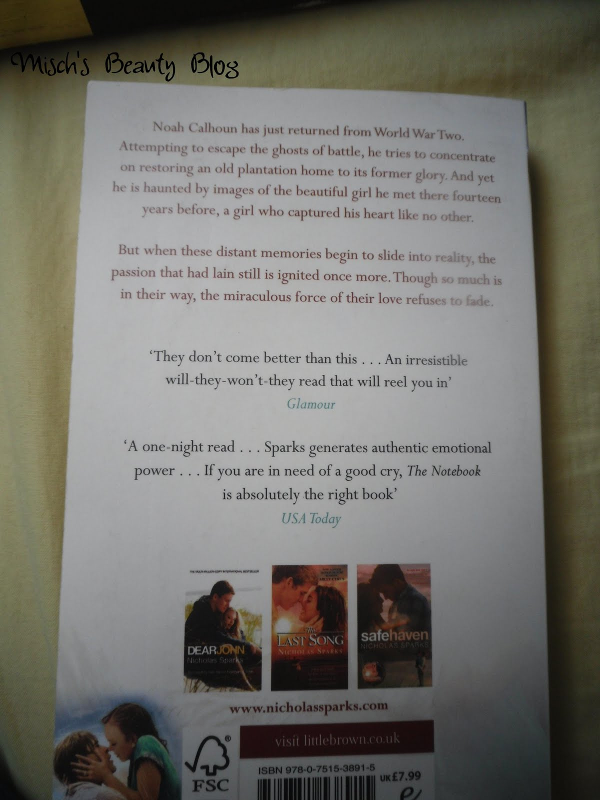 misch s beauty blog book review the notebook by nicholas sparks now i really don t want to spoil anything for you so this will be hard for me but just in case if you want to this book some time soon