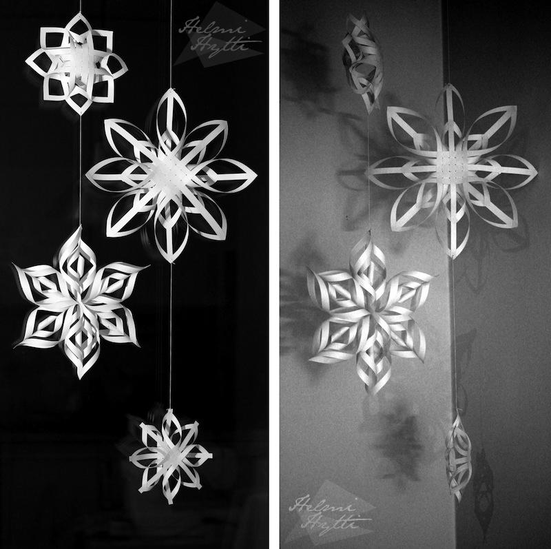 lumihiutaleet 3d kolmiulotteiset paperista diy