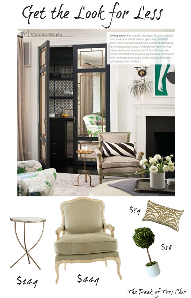 Louisa Bergere Chair/Jules Accent Table/Elaine Smith Zebra Pillow/Boxwood  Topiary