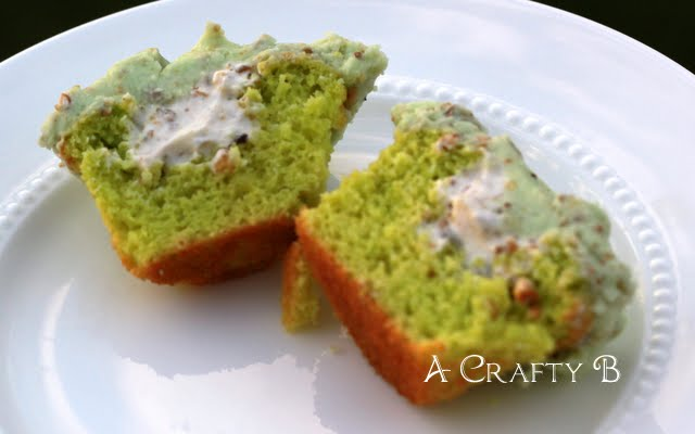 Pistachio cupcakes filled with pistachio flavored whip cream and ...