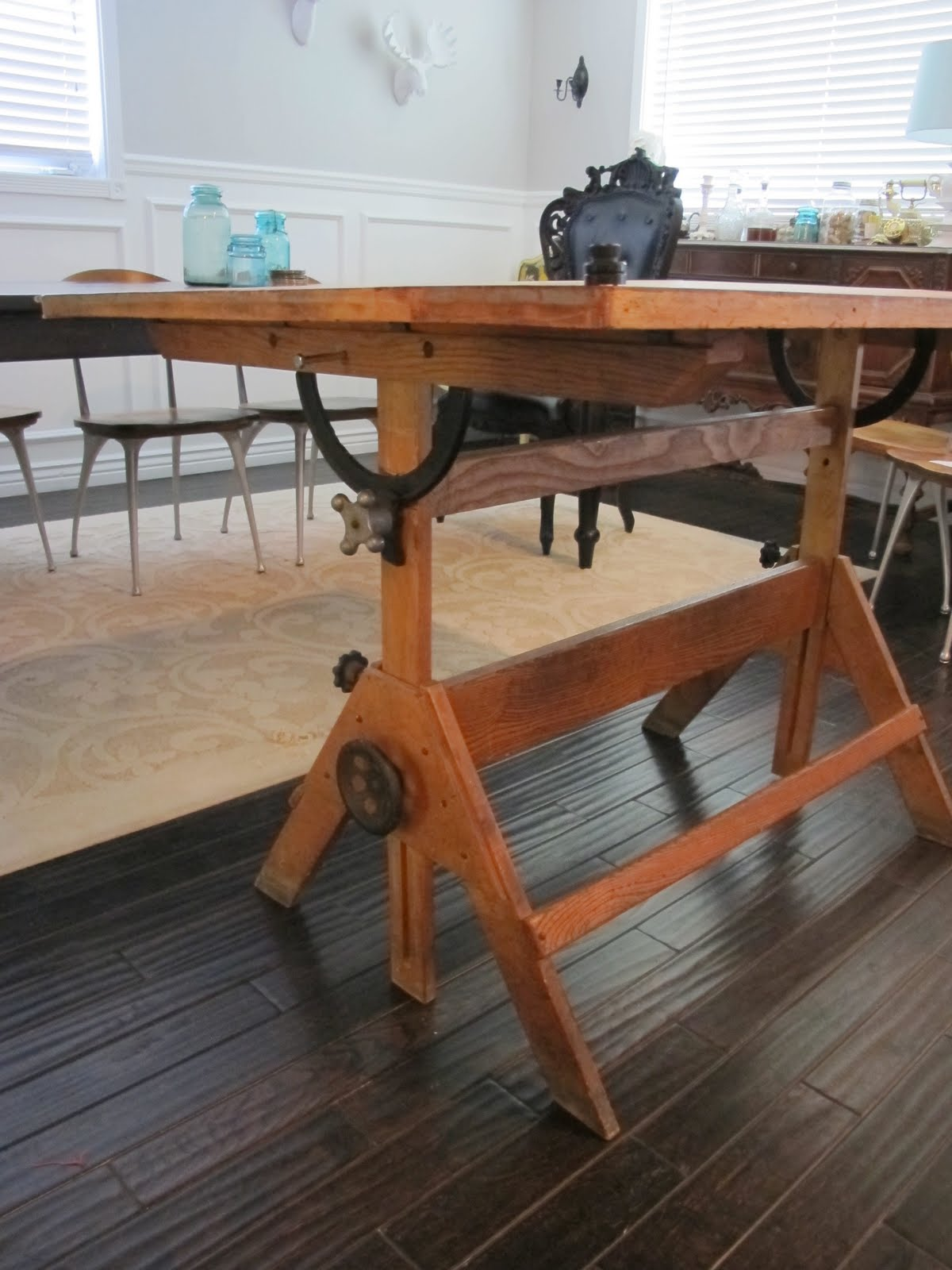 High Quality Vintage Drafting Table Turned Dining Table