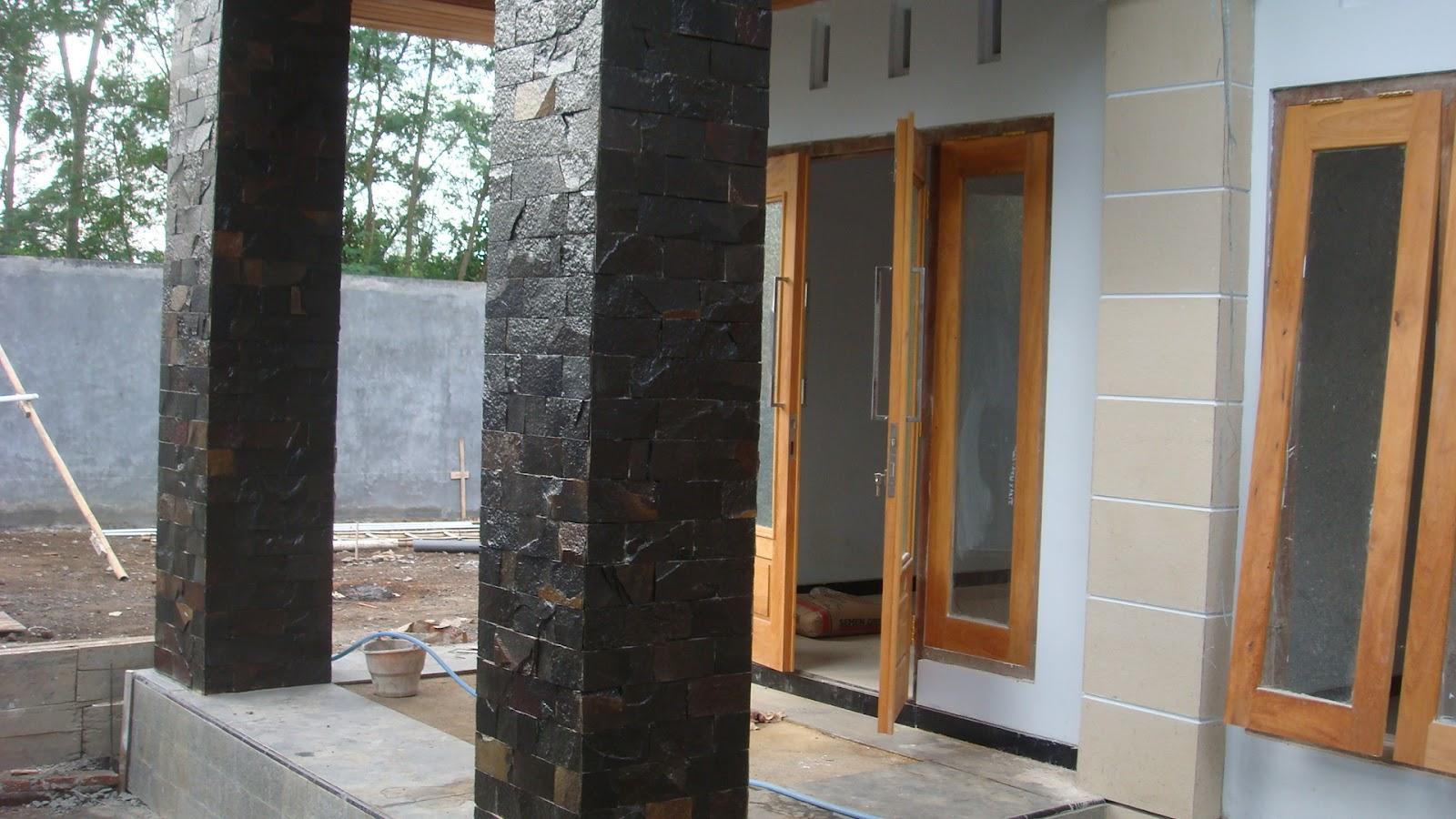 batu alam selandhini teras hitam putih