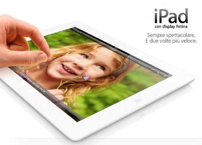 Da inizio febbraio 2013 sarà in vendita l'iPad 4 con 128 gb di memoria interna sia nella versione solo Wifi che Wifi + 4G