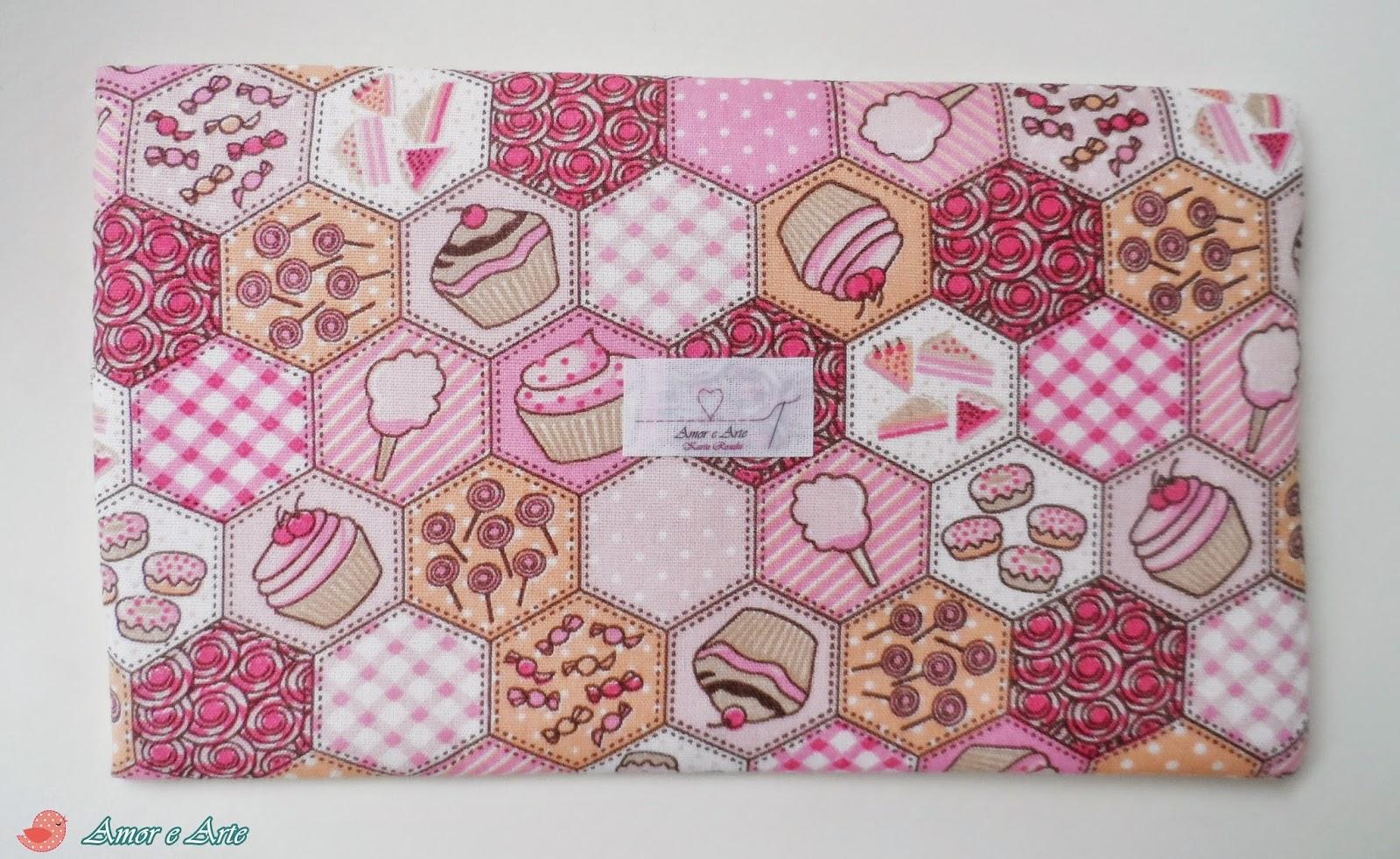 Capa de tecido paraTablet 7 polegadas - Rosa Cupcakes