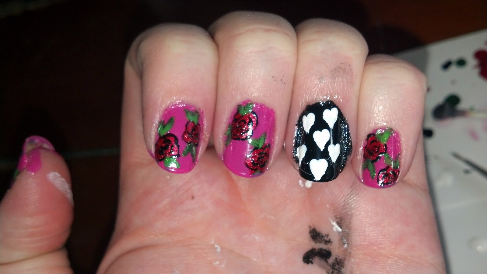 I Thought I Would Do My Nails To Match! And So, Here Is My Tutorial On  How To Make Cute Roses, And Some Notsogreatbutwillstillwork Hearts!!