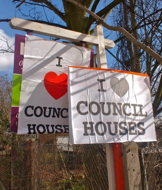"Guerilla art in SW4 - the John Lanchester novel becomes reality as a fly-sticker hits the streets of Clapham, covering estate agents' boards with "" I love council houses"" posters"