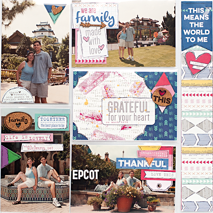 Heather Greenwood Designs | pocket scrapbook page using Elle's Studio Sycamore Lane Collection and stamps | stamping with mists | Disney Epcot Honeymoon