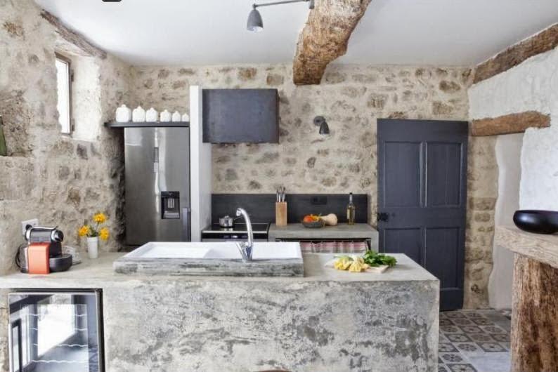 cocina con muebles de microcemento