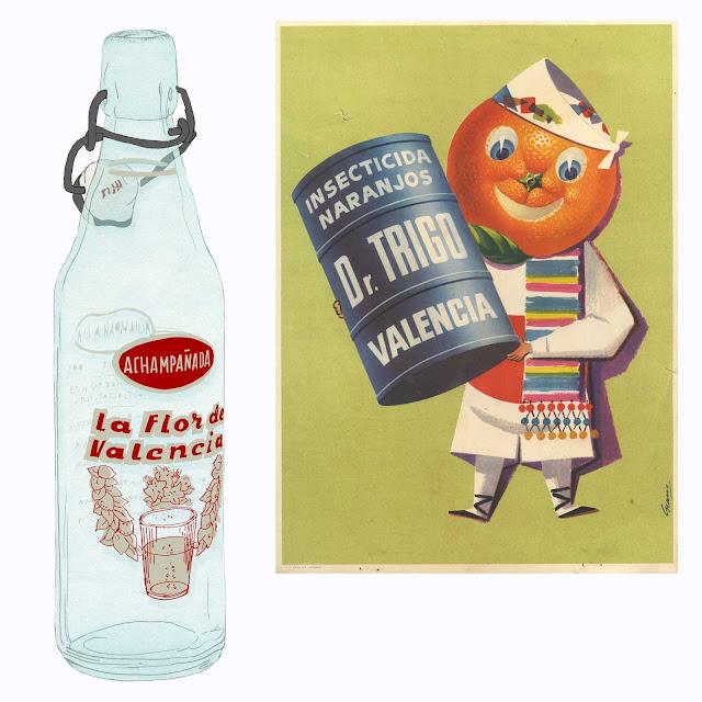 botella,la flor de Valencia, gaseosa, achampañada,dibujo,  Dr. Trigo, etiqueta,