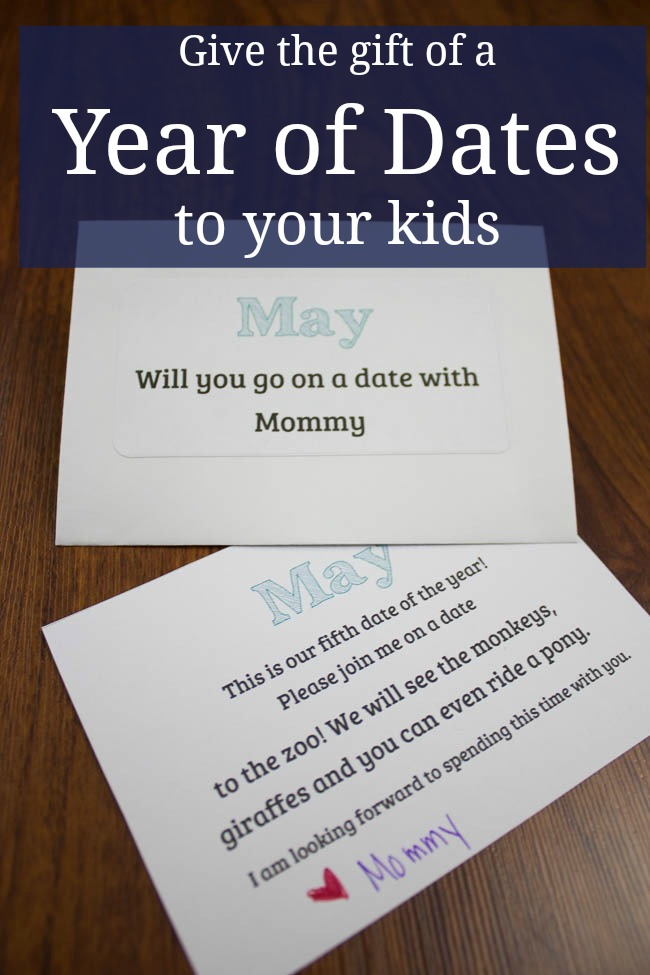 Plan a Year of Dates for your kids. Great Christmas Present. Free Printables