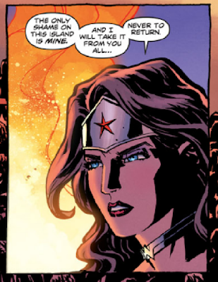 "Image from Wonder Woman #2 (2011) by Brian Azzarello and Cliff Chiang with text over image of Wonder Woman/Diana: ""the Only Shame on this Island is MINE and I will Take it from you all...never to return."""