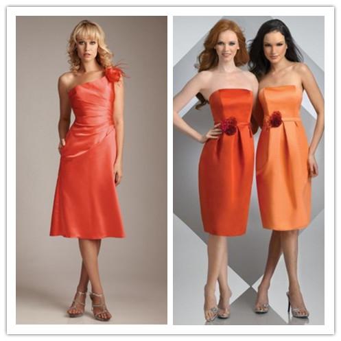 elegant orange bridesmaid dresses for wedding