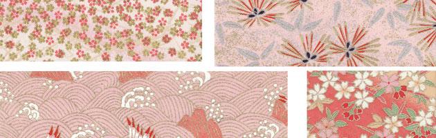ピンクを基調とした細かい花柄などでカワイイ雰囲気。 | 無料で使える和紙や千代紙のフリー和柄テクスチャー素材