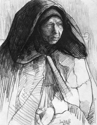 Crayon et fusain sur papier de Jean Delville