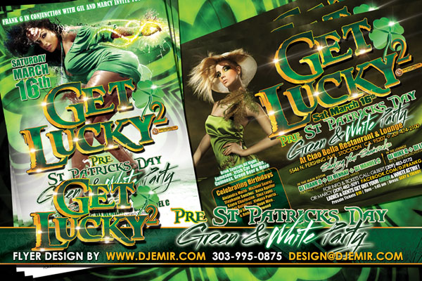 Get Lucky 2 St Patrick's Day Green and White Party Flyer Design