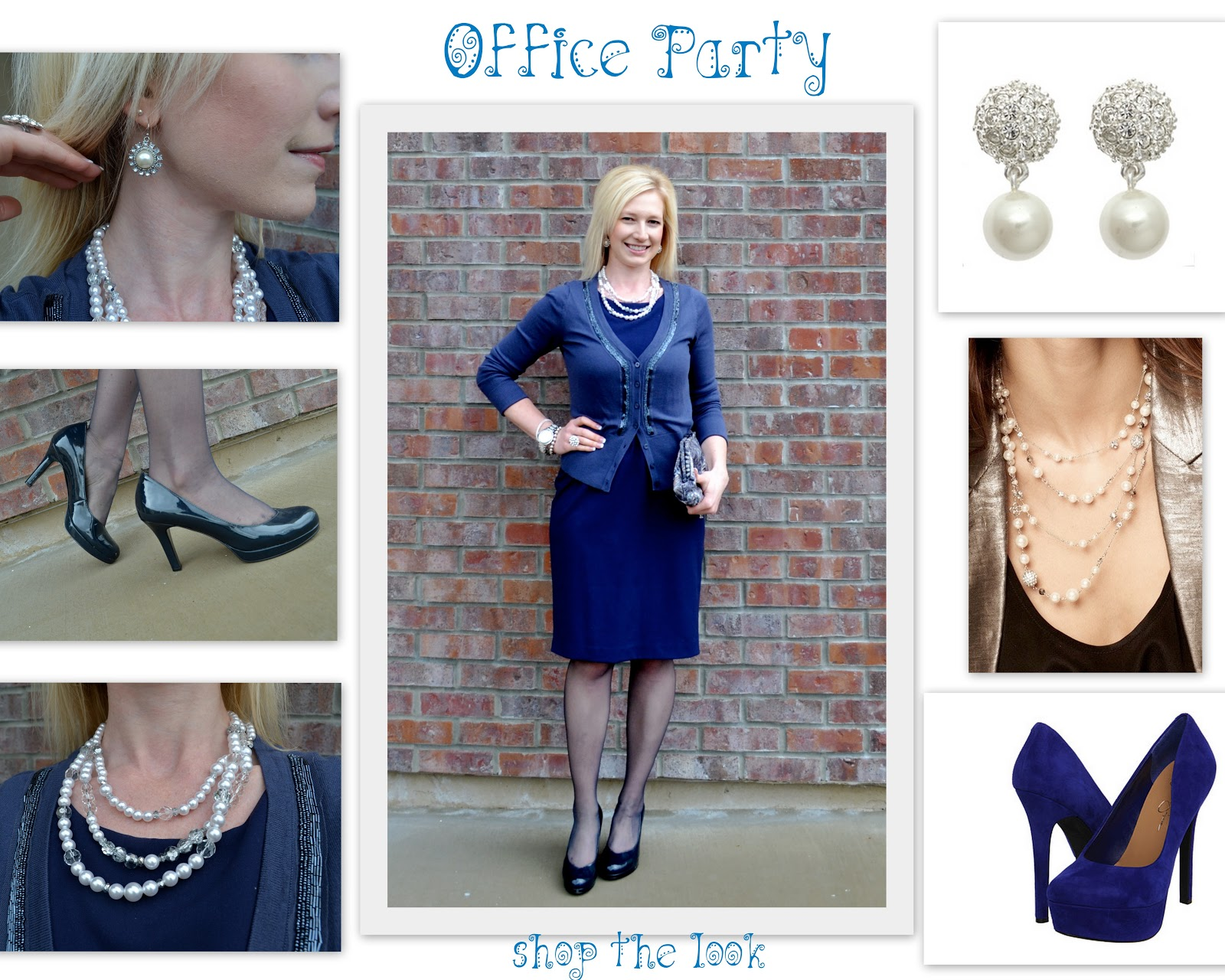 Christmas dress ideas for office party -  For The Office Party Look Pearl Necklace Earrings Heels