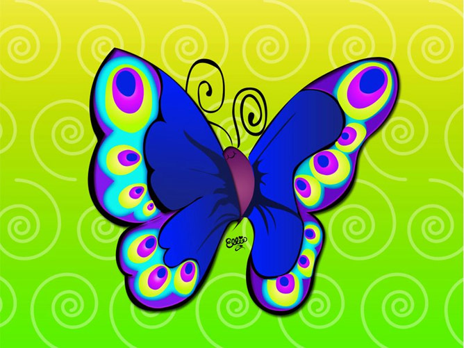 joyful butterfly cartoon