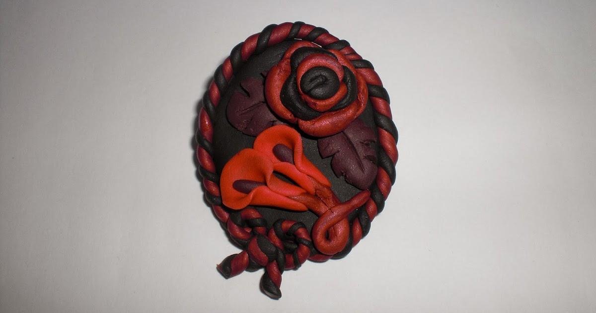 Broche de Fimo Camafeo Rosa y Calas