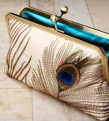 Silk Peacock Feathers Luxury Clutch Purse
