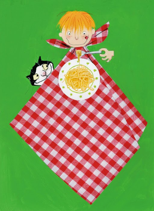 illustration by Robert Wagt of a boy eating pasta with his cat