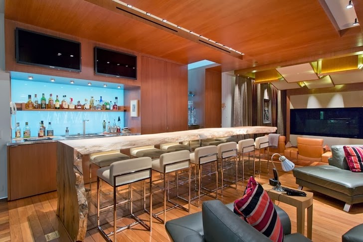 Large bar in Multimillion modern dream home in Las Vegas