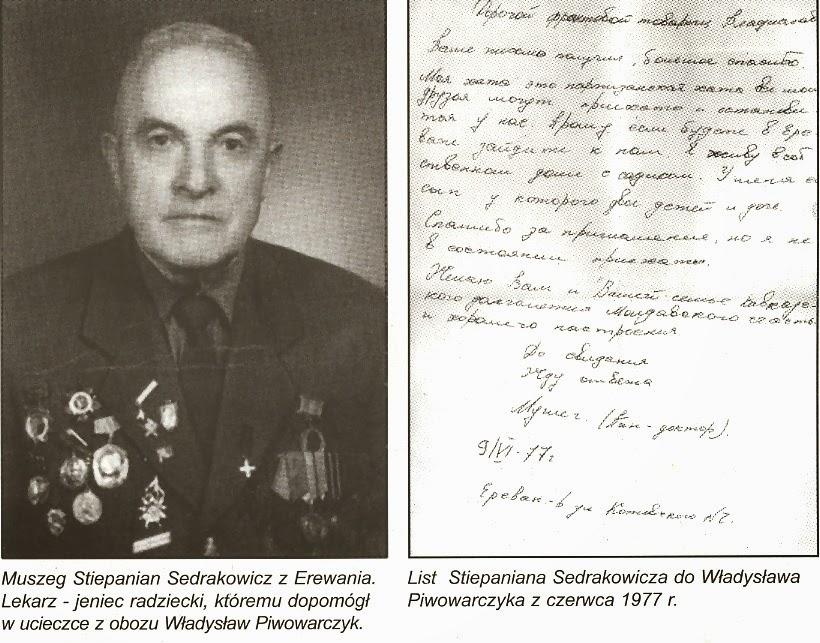 Fotografia i kopia listu z książki Marka Piwowarczyka, Kornica, Końskie 2000.