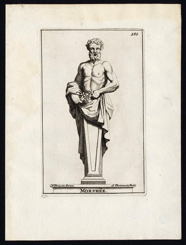 Morphee. Bust of Morpheus holding some plants. Simon Thomassin, 1695  after Poussin statue at Château de Versailles, France from Recueil des figures, groupes, thermes, fontaines,  vases, statues et autres ornemens de Versailles