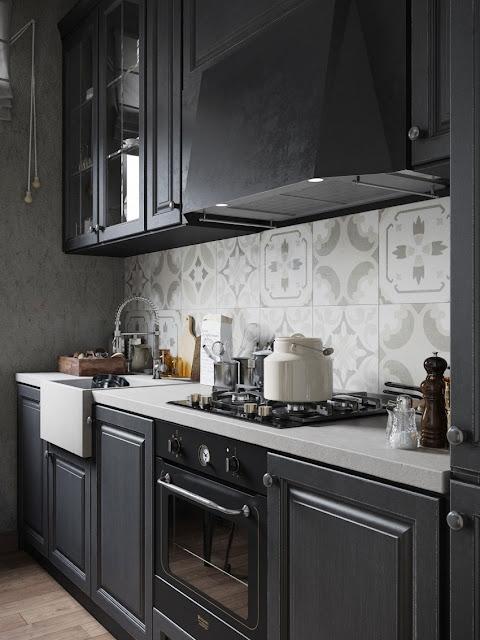 modern black and white small kitchen design