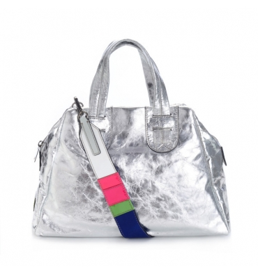 Meredith Wendell Silver Leather Satchel