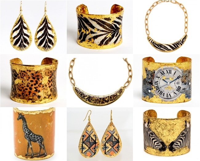 EVOCATEUR is a jewelry line made from the high quality 22K gold leaf as well as sterling silver leaf. Founder and designer Barbara Ross-Innamorati. Unique jewelry. Most beautiful jewelry.Evocateur Humphrey's safari line.