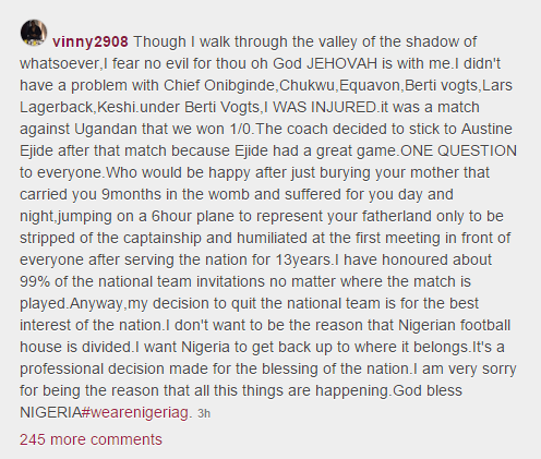 Vincent Enyeama's message to Nigerians after retirement.