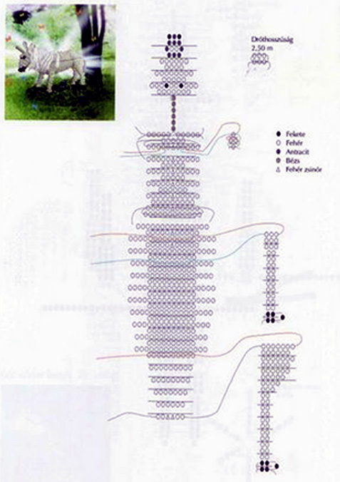 Единорог из бисера. Схема