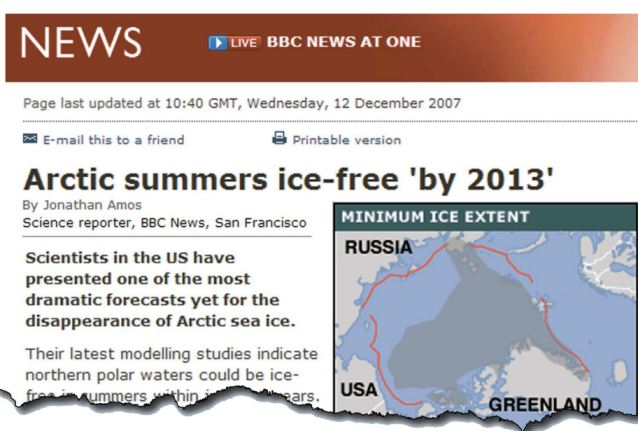 There won't be any ice at all! How the BBC predicted chaos in 2007