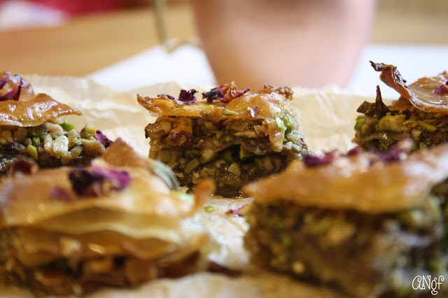 Squares of gluten free baklava with pistachio and rose petals | Anyonita-nibbles.co.uk