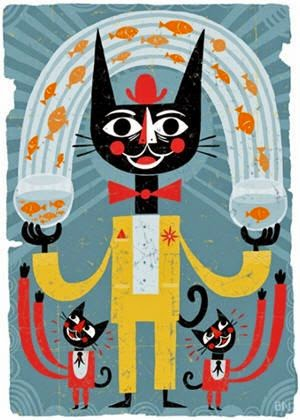 black cat juggling goldfish illustration by Ben Newman