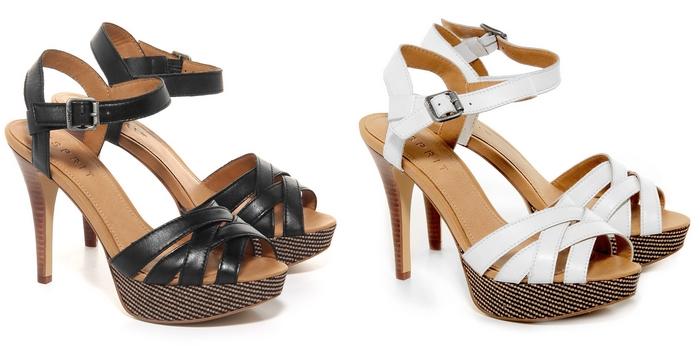Esprit sandalen plateau houten hak schoenen