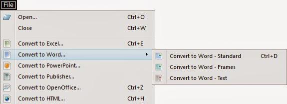 Dettaglio sulla scelta del Formato di conversione