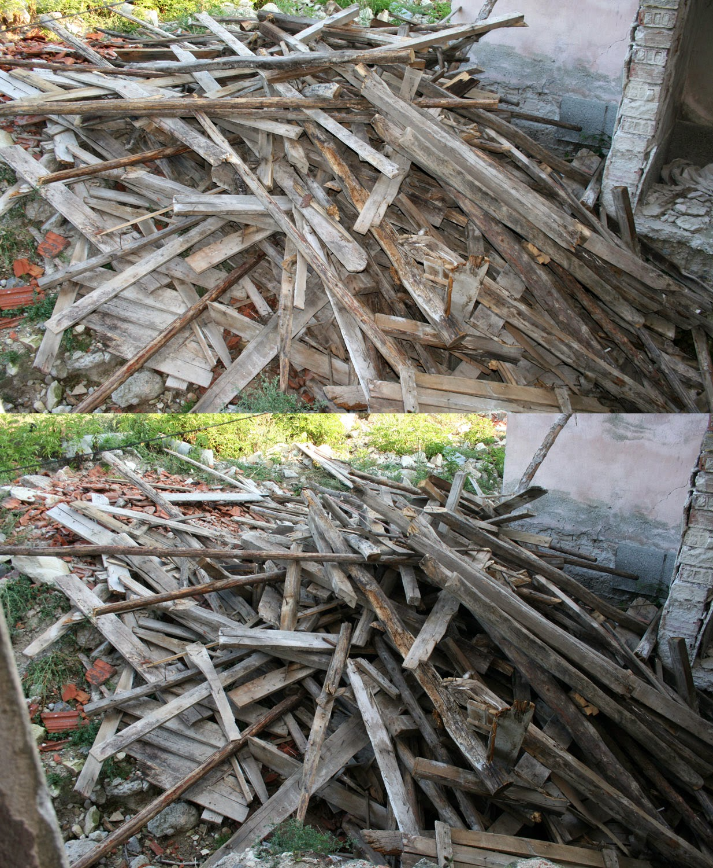 Diminishing woodpile