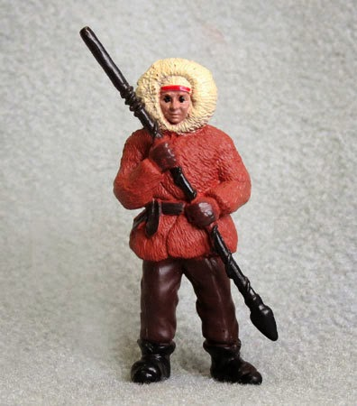 Small Plastic Figurine of Eskimo Man with Spear