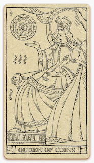 Queen of Coins card - inked illustration - In the spirit of the Marseille tarot - minor arcana - design and illustration by Cesare Asaro - Curio & Co. (Curio and Co. OG - www.curioandco.com)