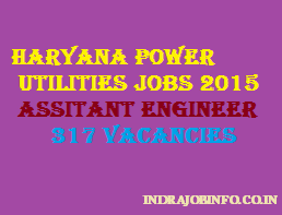 Haryana power utilities Assistant Engineer recruitment 2015