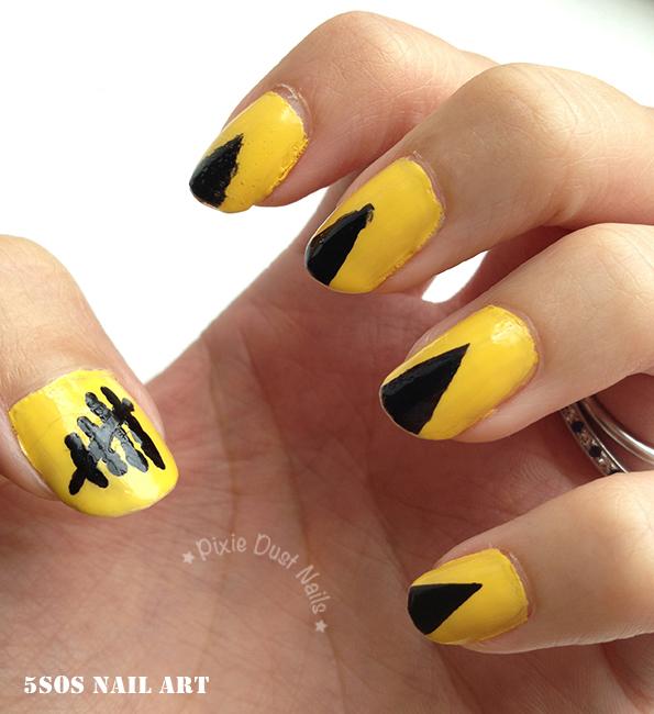 Yellow 5SOS Nail Art