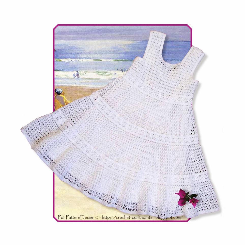 WHITE LACE CROCHET DRESS FOR LITTLE GIRLS